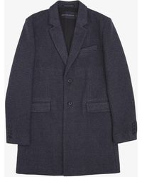 French Connection Pattern Wool Two Button Coat - Blue