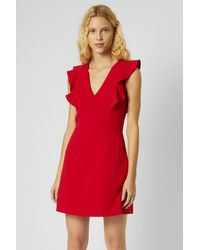 French Connection Whisper Ruffle V Neck Dress - Red