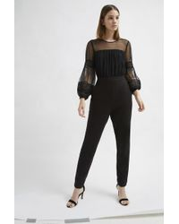 French Connection - Paulette Jersey Puff Sleeve Jumpsuit - Lyst