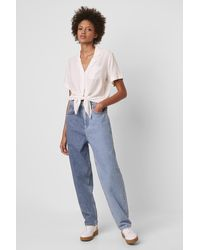 French Connection Yoshie Two Tone High Waist Boyfriend Jeans - Blue