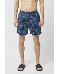 French Connection Maree Print Recycled Swim Shorts - Blue
