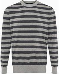 French Connection Auderley Melange Stripe Crew Neck Sweater - Gray