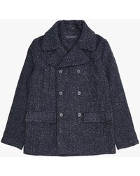 French Connection Tweed Pea Coat - Blue