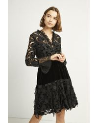 French Connection - Cynthia Velvet Lace Mix Dress - Lyst