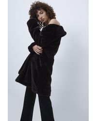 French Connection Banna Long Faux Fur Coat - Grey