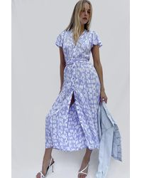 French Connection Islanna Crepe Printed Midi Dress - Blue