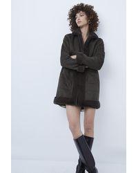 French Connection Alvira Faux Fur Reversible Coat - Black
