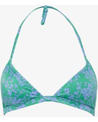 French Connection Flores Aura Recycled Bikini Top - Blue
