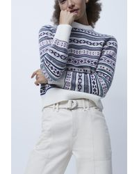 French Connection Kelsa Knits Fairisle Cropped Jumper - Grey