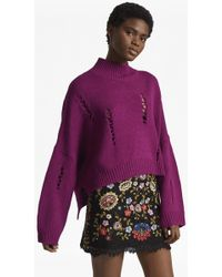 French Connection - Nixo Knit Distressed High Neck Jumper - Lyst