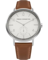 French Connection | Polished Case Leather Strap Watch | Lyst