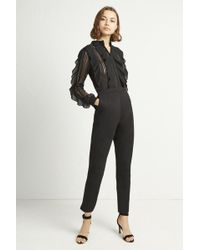 French Connection - Patricia Lace Jersey Jumpsuit - Lyst