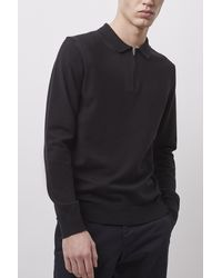 French Connection Stretch Cotton Zip Polo Top - Black