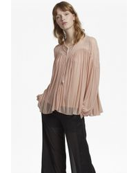French Connection - Lassia Lace Jersey Tie Neck Top - Lyst