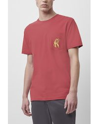 French Connection Chevron Cartoon Pocket T-shirt - Red