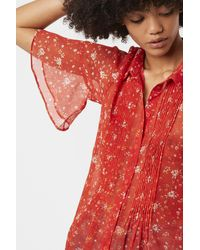 French Connection Delmira Crinkle Floral Pintuck Shirt - Red