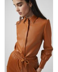 French Connection Crolenda Vegan Leather Shirt - Brown