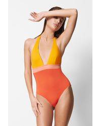 French Connection Color Block Plunge Swimsuit - Orange