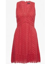 French Connection - Zhara Lace Panelled Dress - Lyst