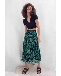 French Connection Floral Crinkle Pleated Midi Skirt - Green