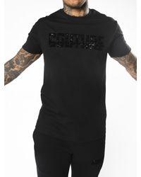 Fresh Couture Velour Strike T-shirt - Black