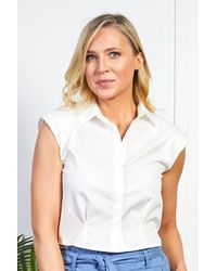 Friday's Edit Cropped White Shirt With Shoulder Pads