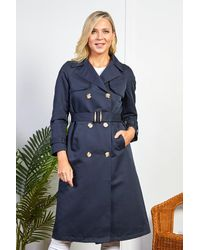 Friday's Edit Navy Belted Trench Coat - Blue