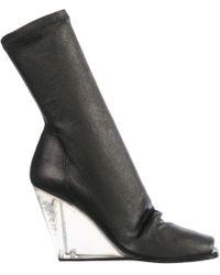90d79eeaa18 Lyst - Rick Owens Black Peep Toe Over The Knee Sock Boots in Black
