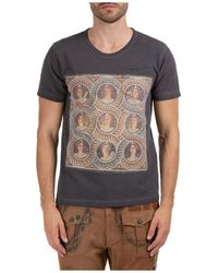 Gabriele Pasini Men's Short Sleeve T-shirt Crew Neckline Jumper - Grey