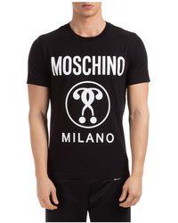 Moschino T-shirt maglia maniche corte girocollo uomo double question mark slim fit - Nero