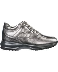 Hogan Women's Shoes Leather Trainers Trainers Interactive - Grey