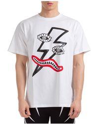 Neil Barrett Men's Short Sleeve T-shirt Crew Neckline Sweater Surrealist Lightning Bolt - White