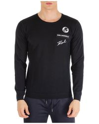 Karl Lagerfeld Men's Crew Neck Neckline Jumper Jumper Pullover - Black
