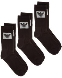 Emporio Armani Men's Socks Tripack - Black