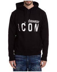 DSquared² Men's Hoodie Sweatshirt Sweat Icon - Black
