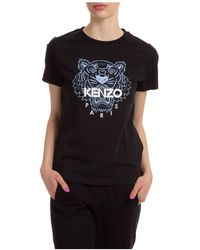 KENZO Women's T-shirt Short Sleeve Crew Neck Round Tiger - Black