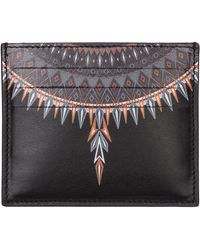 Marcelo Burlon Men's Genuine Leather Credit Card Case Holder Wallet Norwegian Wings - Black