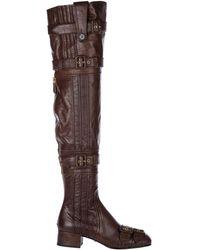 Prada Women's Leather Heel Boots - Brown