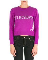 Alberta Ferretti Maglione maglia donna girocollo rainbow week tuesday - Multicolore