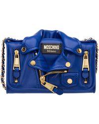 Moschino Portafoglio portamonete donna in pelle biker - Blu