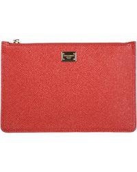 Dolce & Gabbana Women's Leather Clutch Handbag Bag Purse - Red
