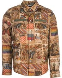 Valentino Graphic Printed Snap-buttons Shirt - Brown