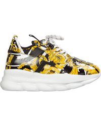 Versace Multicoloured Chain Reaction 2 Baroque Leather Trainers - Black