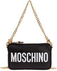 Moschino Women's Leather Clutch With Shoulder Strap Handbag Bag Purse - Black