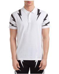 Neil Barrett Polo t-shirt maglia maniche corte uomo thunderbolt - Bianco