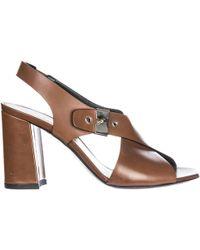 Premiata Women's Leather Heel Sandals Resina - Brown