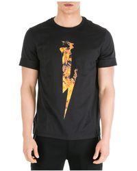 Neil Barrett T-shirt in cotone con logo fulmine - Nero