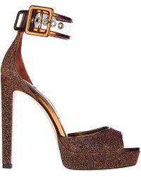 Jimmy Choo - Leather Heel Sandals Mayner Plateau - Lyst
