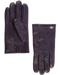 Emporio Armani Men's Leather Gloves - Blue