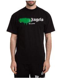 Palm Angels Men's Short Sleeve T-shirt Crew Neckline Sweater Milano Sprayed - Black